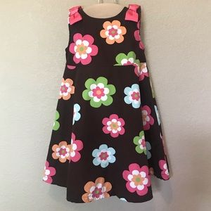 Gymboree brown floral sun dress sleeveless 5